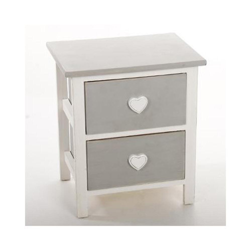 Table de chevet blanc en bois massif avec 2 tiroirs gris for Chevet mural avec tiroir