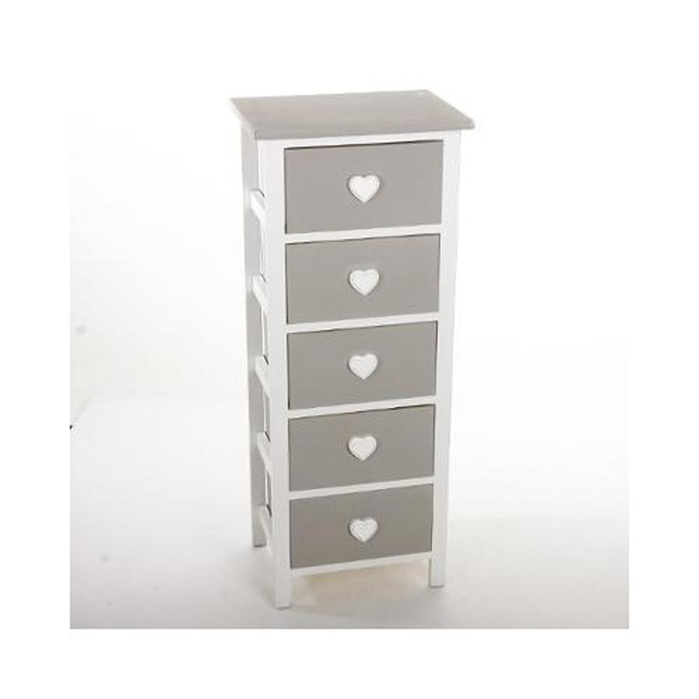 chiffonnier en bois massif gris 5 tiroirs blanc h90 x p27 x l37 cm ebay. Black Bedroom Furniture Sets. Home Design Ideas