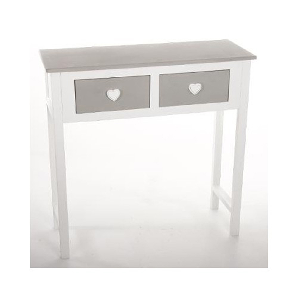 console blanc en bois massif avec 2 tiroirs gris h80 x p30 x l80 cm ebay. Black Bedroom Furniture Sets. Home Design Ideas