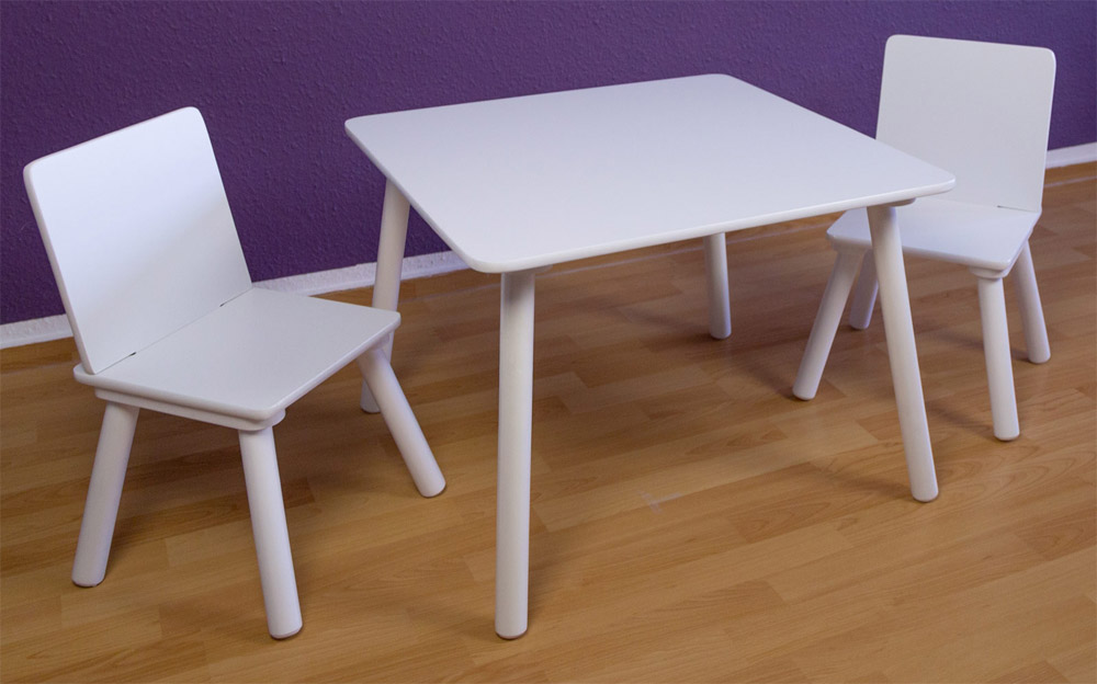 ensemble table et 2 chaises blanc pour enfants ebay. Black Bedroom Furniture Sets. Home Design Ideas