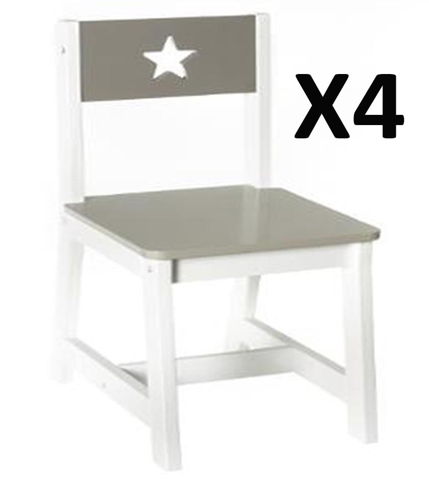 lot de 4 chaises pour enfants en bois taupe et blanche dim l28 x p37 x h56cm ebay. Black Bedroom Furniture Sets. Home Design Ideas