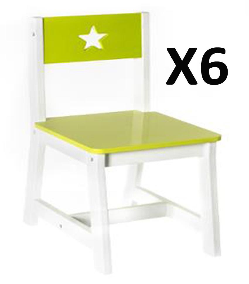 Lot de 6 chaises pour enfants en bois vert et blanche dim l28 x p37 x h56 - Lot de 6 chaises en bois ...