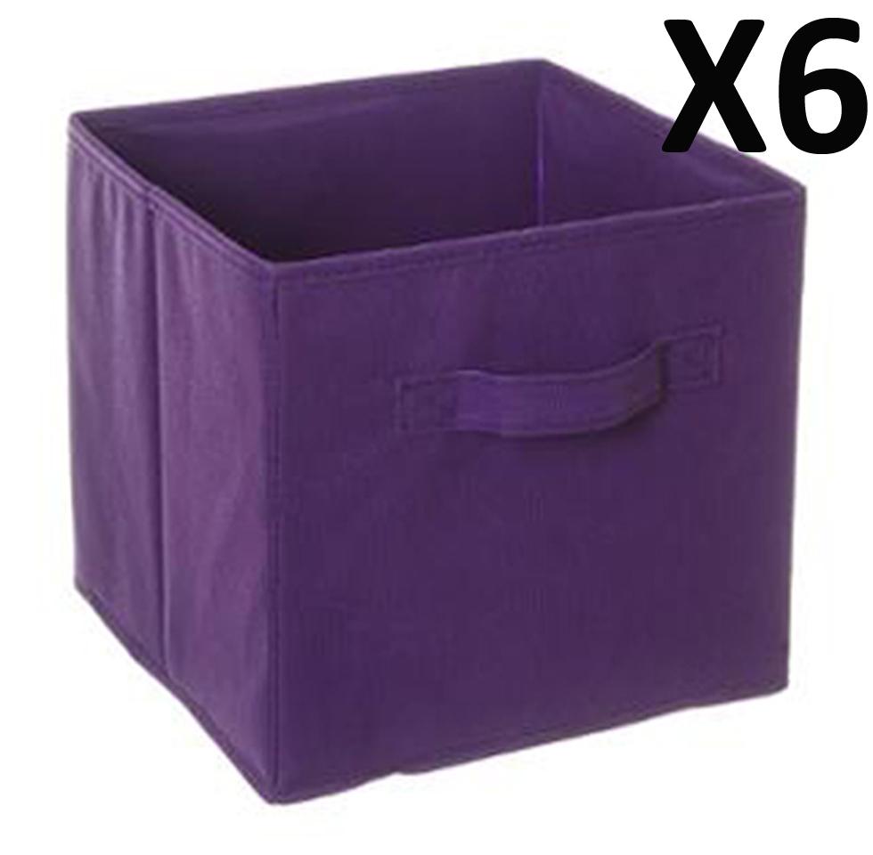 lot de 6 paniers cube de rangement pliable violet dim. Black Bedroom Furniture Sets. Home Design Ideas
