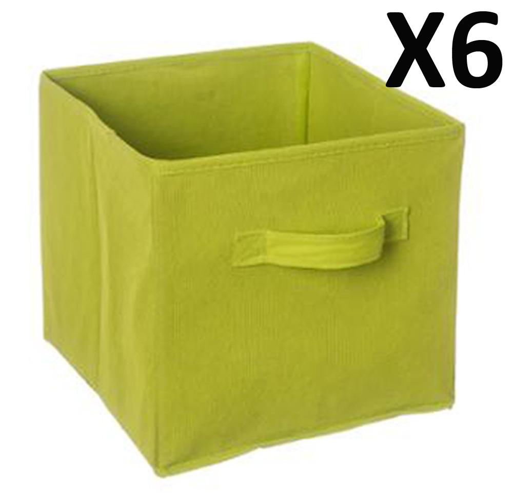 lot de 6 paniers cube de rangement pliable vert dim l. Black Bedroom Furniture Sets. Home Design Ideas