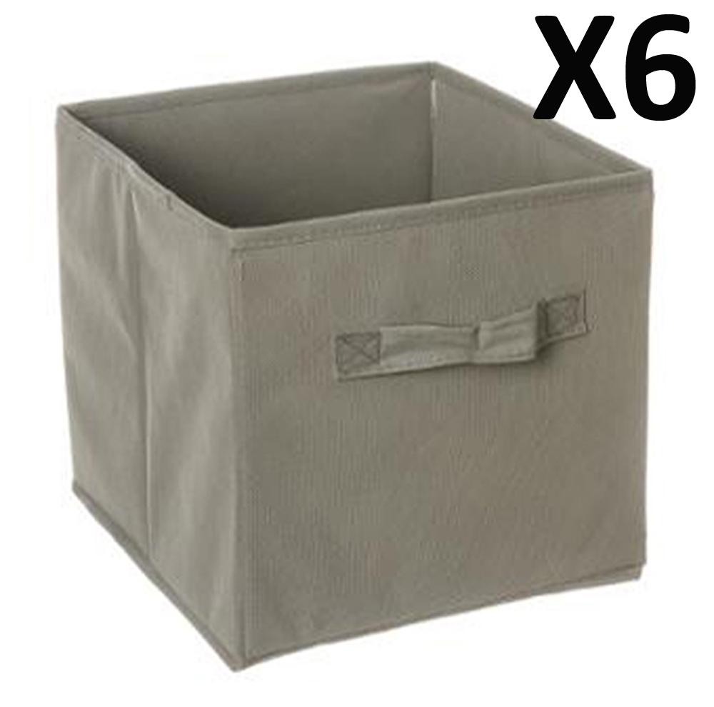 lot de 6 paniers cube de rangement pliable gris dim l. Black Bedroom Furniture Sets. Home Design Ideas