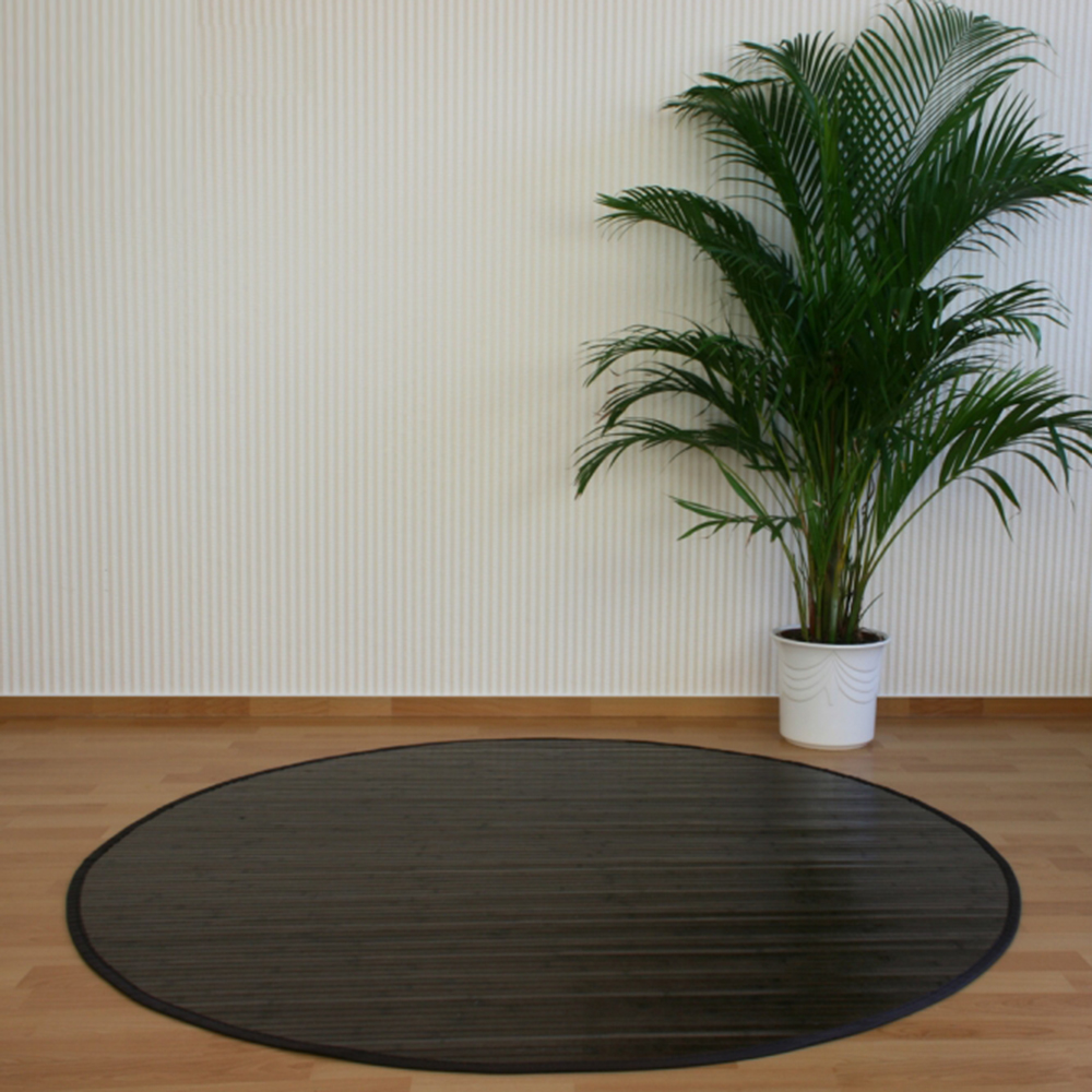 tapis rond en bambou brun fonc 150 cm ebay. Black Bedroom Furniture Sets. Home Design Ideas