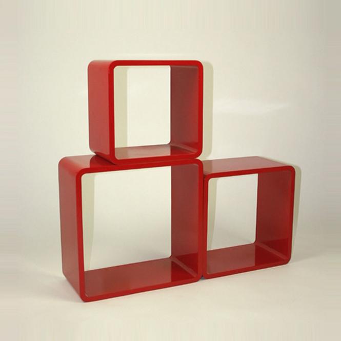 tag res cube murale de 3 pi ces rouge ebay. Black Bedroom Furniture Sets. Home Design Ideas