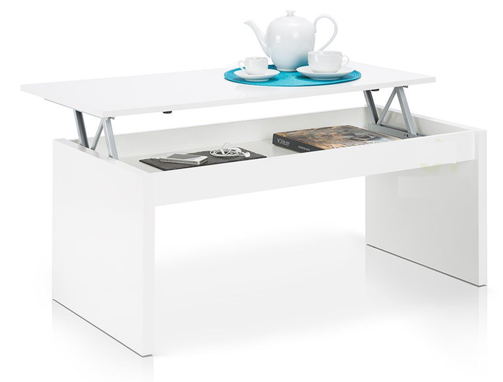 table basse blanc brillant avec plateau relevable dim 100 x 50 x 43 cm ebay. Black Bedroom Furniture Sets. Home Design Ideas