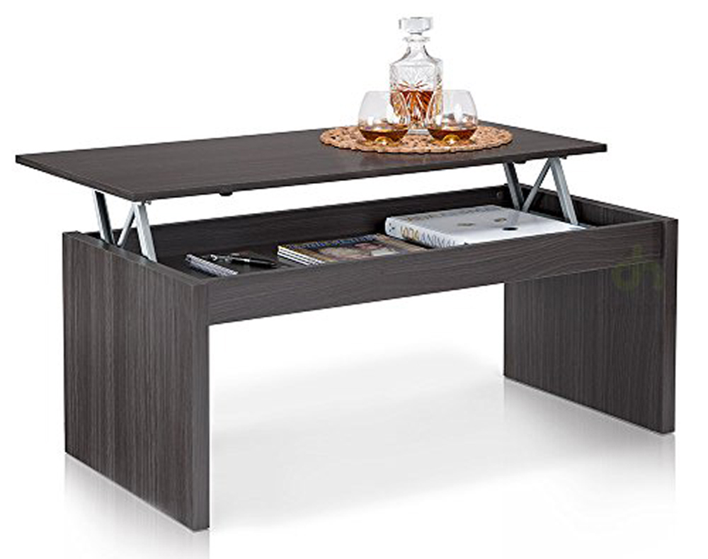 Table basse fr ne brillant avec plateau relevable dim - Mecanisme table basse relevable ...