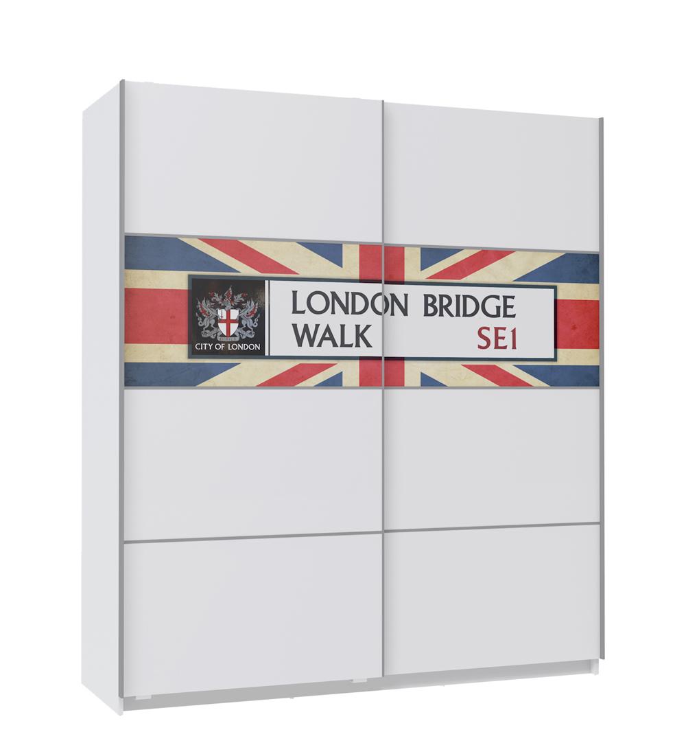 armoire avec 2 portes coulissantes motif london 1800 x 600 x 2050mm ebay. Black Bedroom Furniture Sets. Home Design Ideas