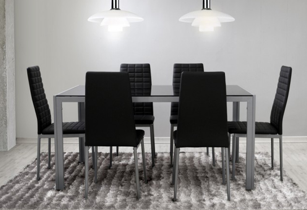 Ensemble salle manger 6 chaises table noir gris ebay for Ensemble table chaise salle a manger
