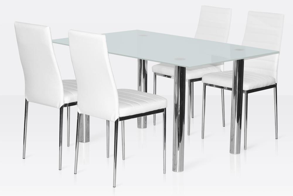 Ensemble salle manger 4 chaises table en verre blanc gris ebay - Ensemble table chaise salle a manger ...