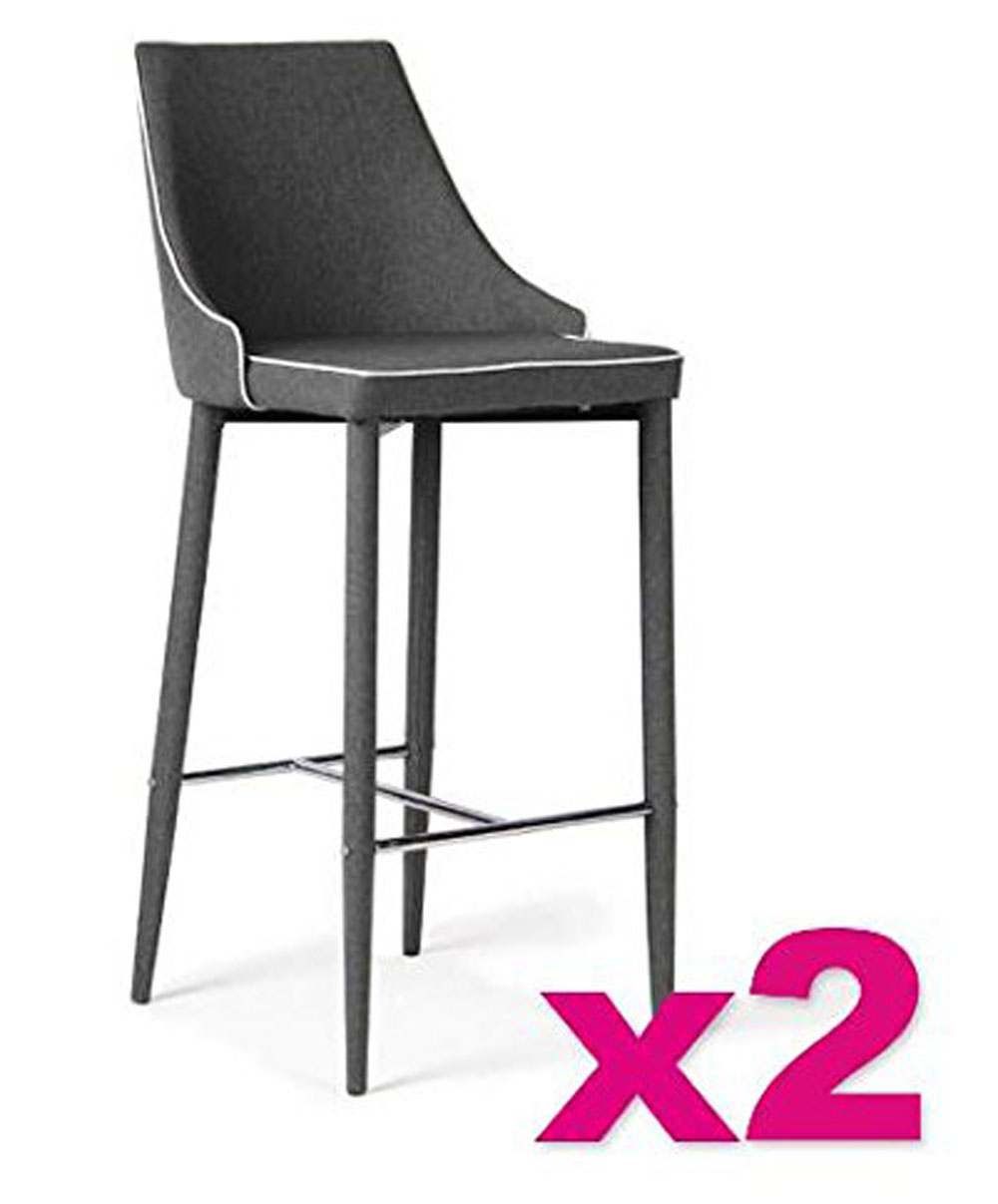 lot de 2 tabourets de bar tissu romeo en gris galet l48 x h106 x p52 cm ebay. Black Bedroom Furniture Sets. Home Design Ideas