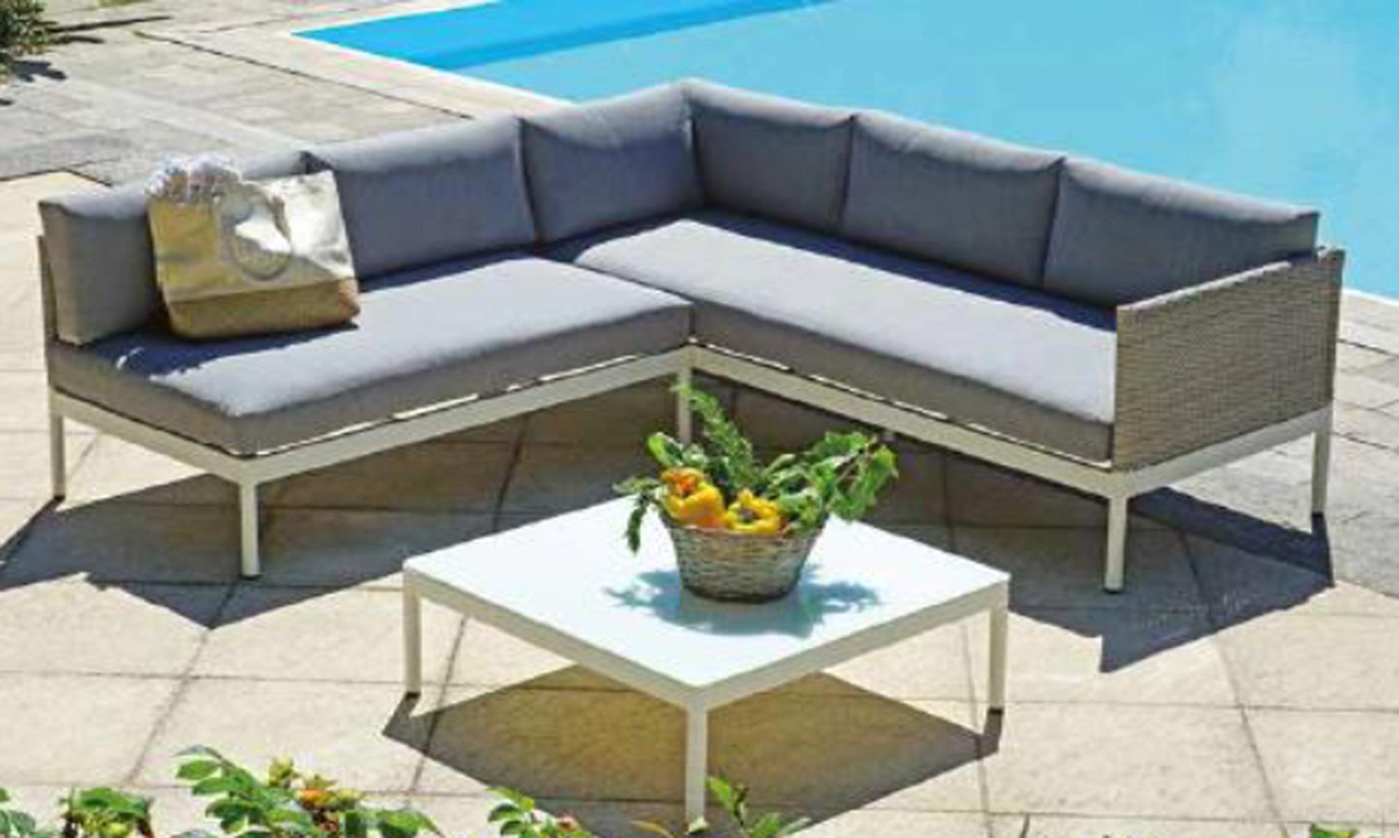 Salon de jardin design en aluminium blanc et osier gris chiné | eBay